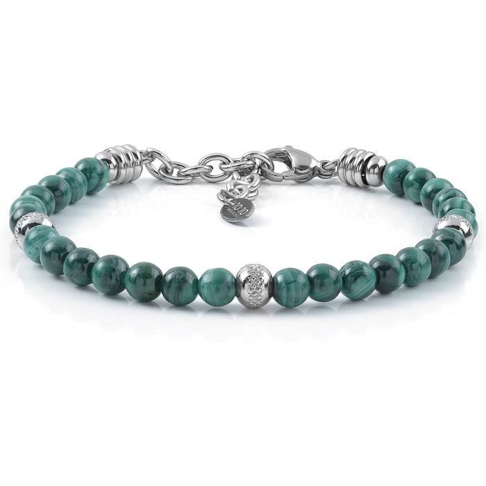 BRACELET GOURMETTE JONC Bracelet 10:10 Bracelet avec Pierres de Malachite Naturelle de 6 mm, Perles en Acier Inoxydable, Bracele1401