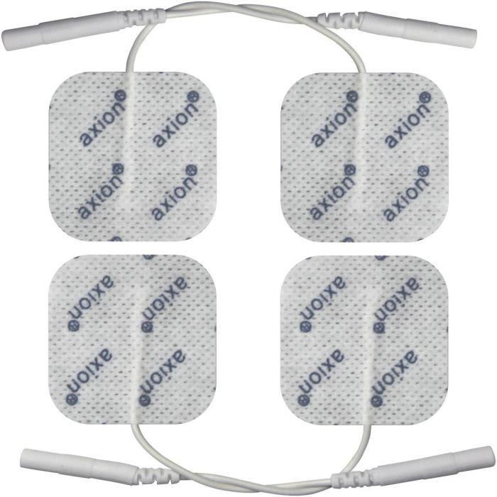 Electrodes compatibles electrostimulation TENS EMS - 4 eacutelectrodes pads - connexion agrave fil 2 mm - 4 x 4 cm - patch pour el