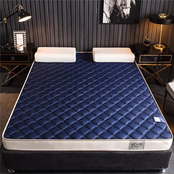 55,1 * 74,8 inch,Housse de matelas en mousse à mémoire, matelas en silicone souple, sommeil de qualité respirant-bleu-2