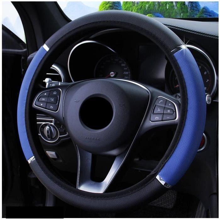 Couvre volant,Housses de direction de voiture antidérapantes en cuir PU, pour Peugeot 208 207 308 RCZ 408 407 307 206 - Type Bleu