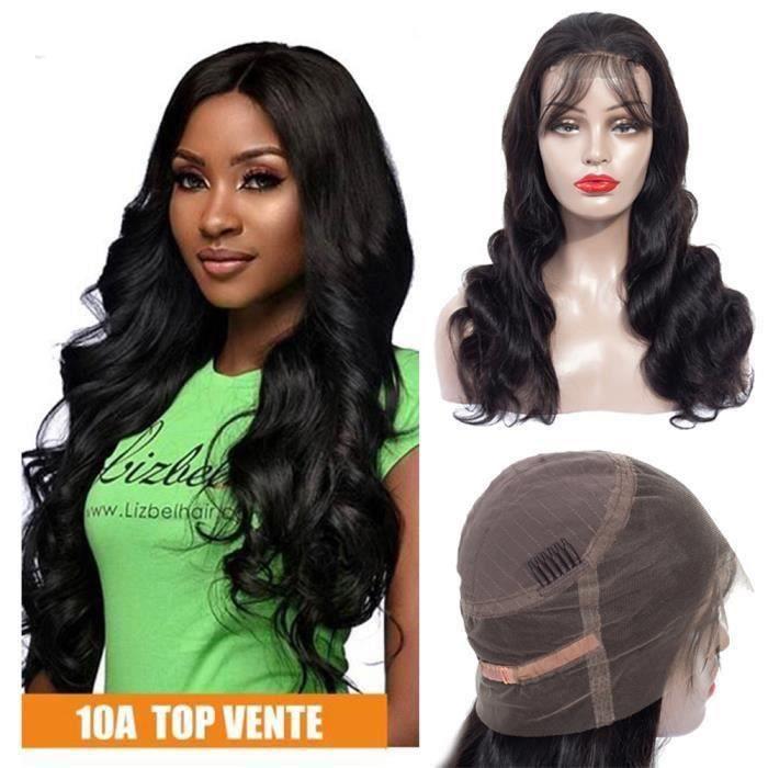 20'' Perruque Bresiliens Ondulé 360 Lace Wig Grade 10A Cheveux Humains Naturel Wig