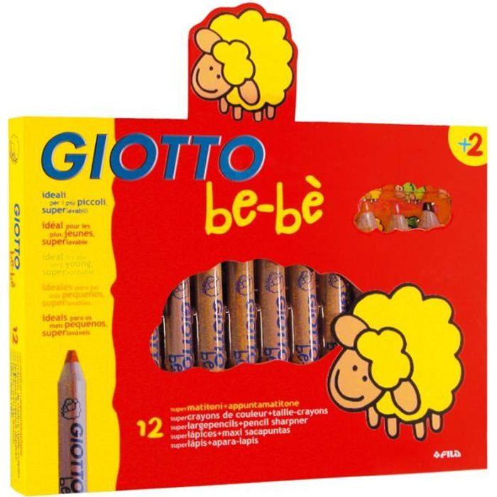Le maxi crayon Giotto bébé est vendu par lot de 12 par Legeantdelafete. La mine est de diamètre 5.5mm. Dès 2 ans, couleurs