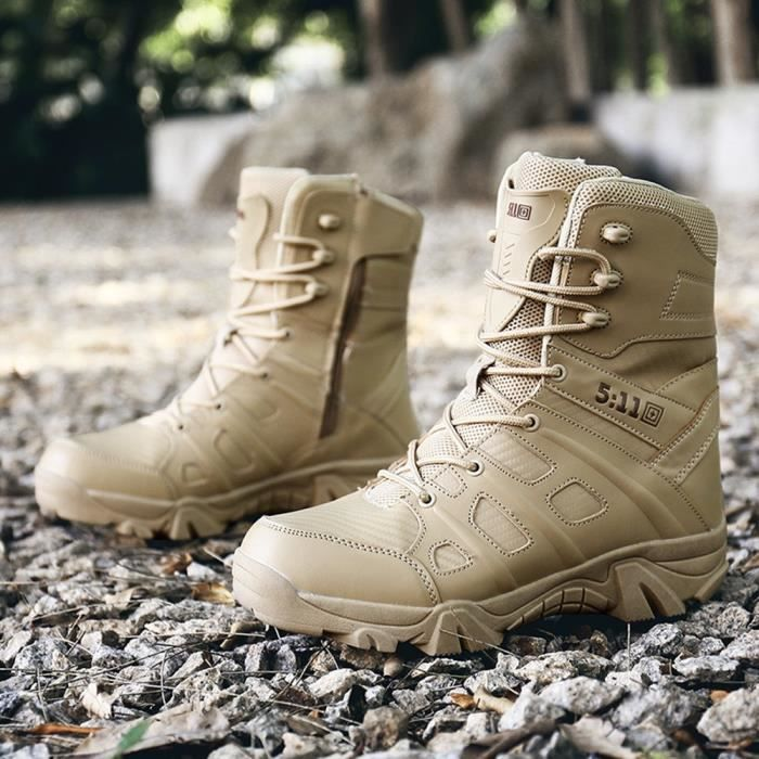 Confortable résistant à l'usure antidérapante Combat randonnée en plein air Bottes militaires hommes marron