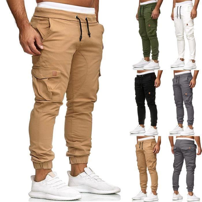 Pantalons de survêtement pour hommes Joggings élastiques décontractés Pantalons de sport solides avec poches amples