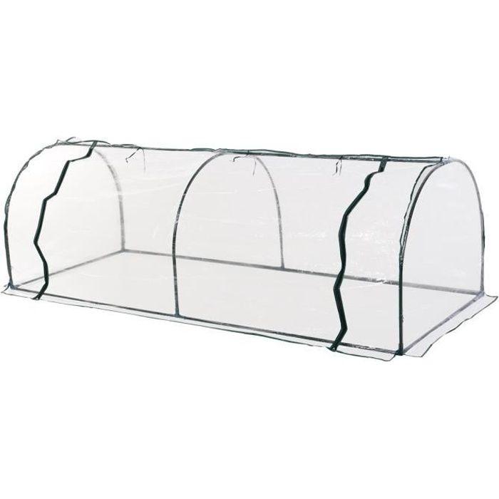 Serre de jardin tunnel serre à tomates 2,5L x 1l x 0,8H m grande porte zippée bâche PVC transparent métal époxy vert 250x100x80cm
