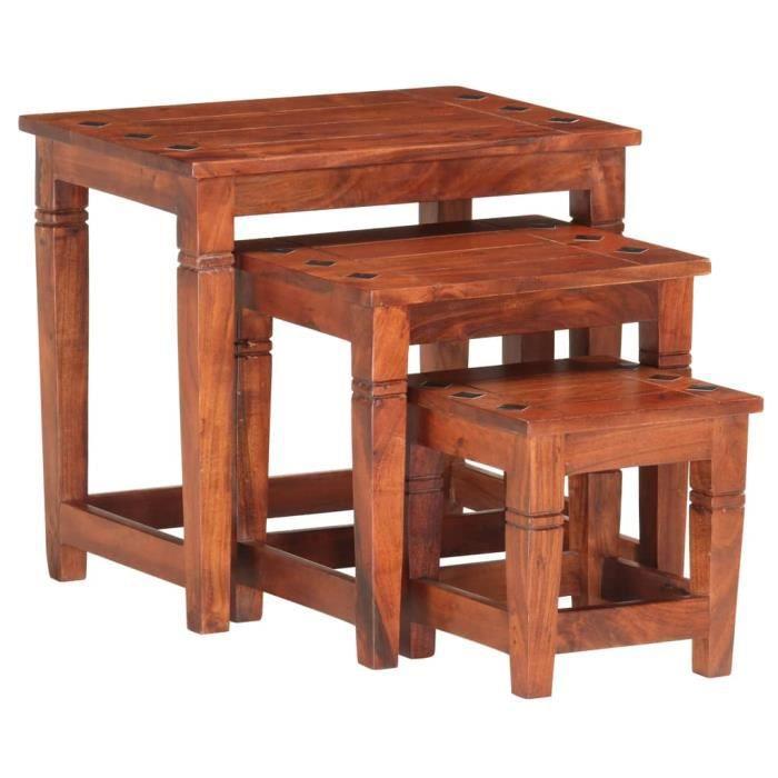 3 pcs Tables gigognes Bois d'acacia massif