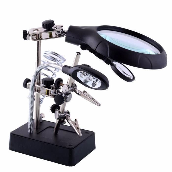 Soudage de la loupe 5 LED Light 10X Auxiliary Clip Magnifier 3 In1 Soudure à la main Iron Stand Holder Station