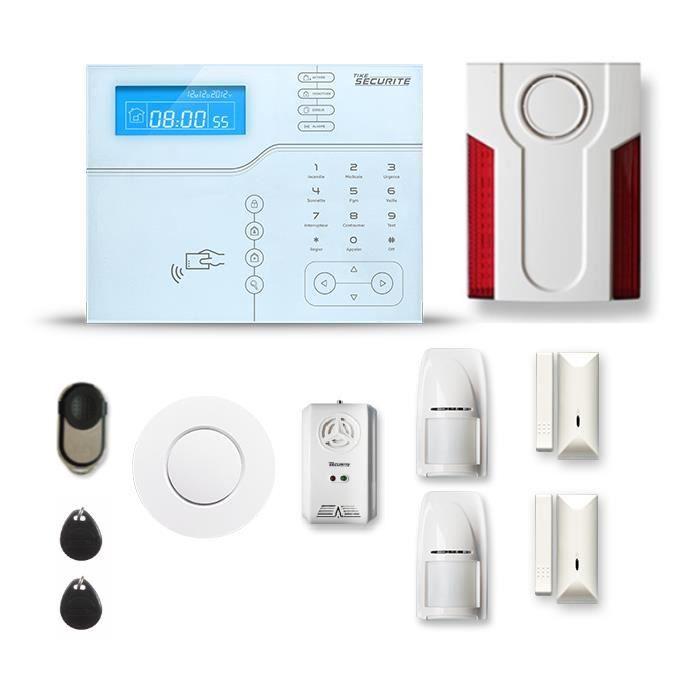 Alarme maison sans fil SHB V2 1 à 2 pièces mouvement + intrusion + détecteur de fumée + gaz + sirène extérieure - Avec GSM
