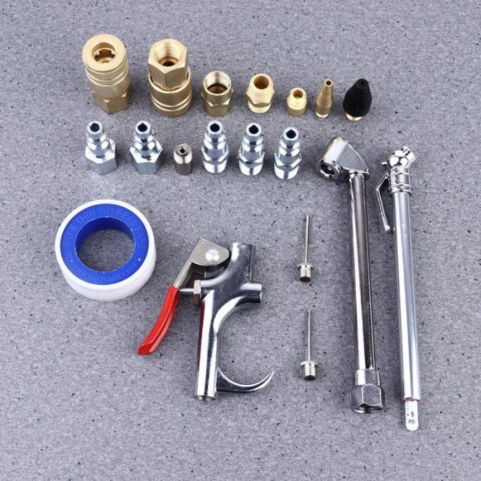 Outil de kit d'accessoires de compresseur d'air 20pcs ensemble de bus de pistolet de soufflage de ACCESSOIRE MATERIEL PNEUMATIQUE