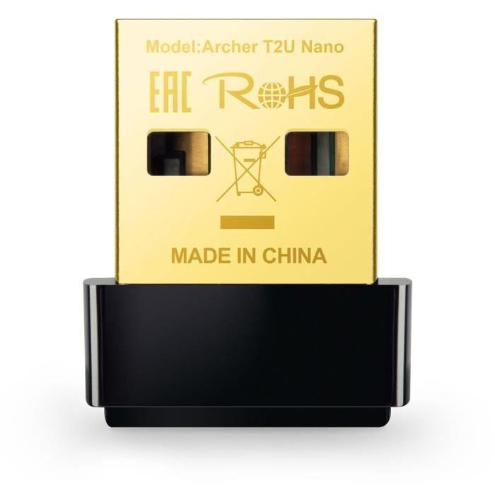 TP-Link Archer T2U Nano Clé WiFi AC 600 Mbps, adaptateur USB wifi, dongle wifi