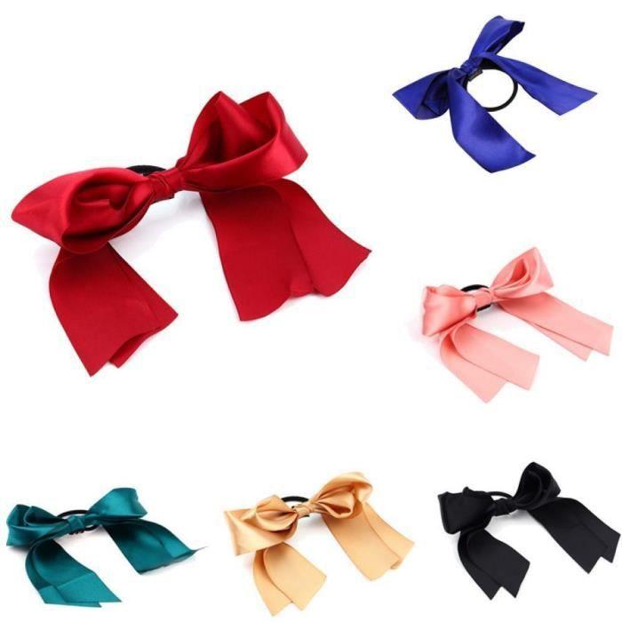 TRIXES Lot de 6 Joli ruban élastiquée Cravates cheveux - filles cheveux Couleurs accessoires assortis