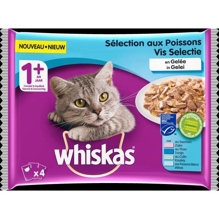 WHISKAS Gelée aux poisson pour chats 4x100g