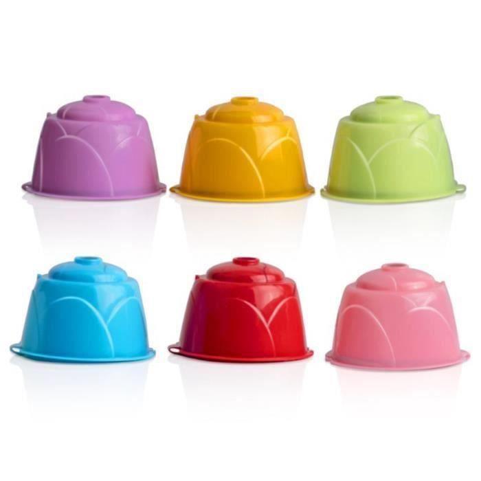 CW02104-6 Couleurs RéUtilisable la Capsule de Café Plastique Rechargeable Compatible pour Dolce GUSTO les Capsules de Paniers-Filt