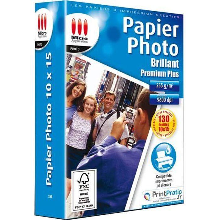 Pack de 130 papiers photo brillant premium Micro Application MA-5368 format 10x15