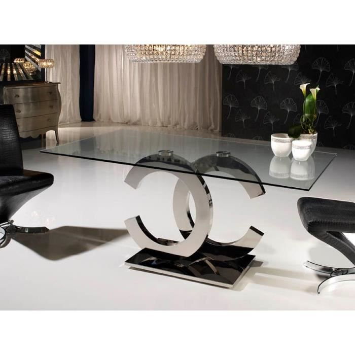 table design de salle a manger en verre et acier 200 cm. Black Bedroom Furniture Sets. Home Design Ideas