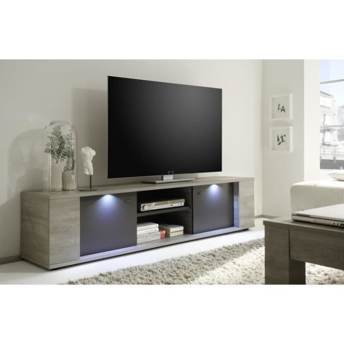 Meuble tv lumineux d cor taupe et ch ne gris andy taupe - Meuble tv design taupe ...