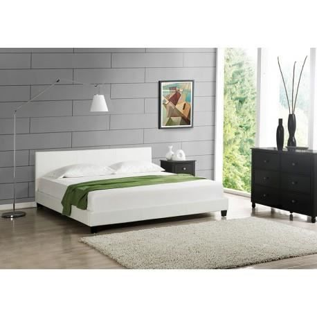 lit berlin blanc 160x200 cm avec sommier achat vente. Black Bedroom Furniture Sets. Home Design Ideas