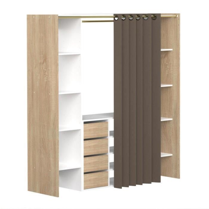 dressing extensible chica 2 colonnes 4 tiroirs blanc ch ne avec rideau taupe achat vente. Black Bedroom Furniture Sets. Home Design Ideas