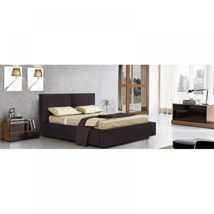 lit coffre design squadra marron chocolat couchage achat vente ensemble literie lit coffre. Black Bedroom Furniture Sets. Home Design Ideas