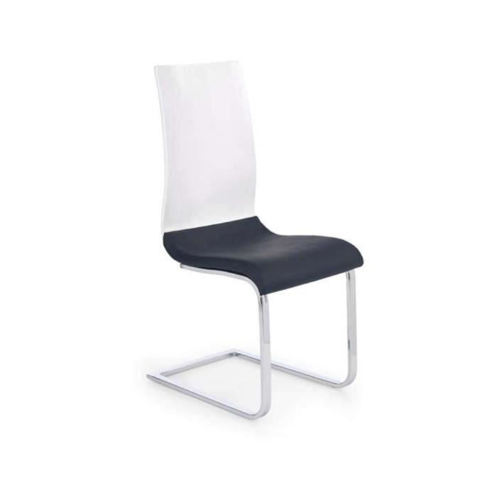 Justhome chaise salle manger k198 noir blanc h x l x p for Chaise salle a manger noire
