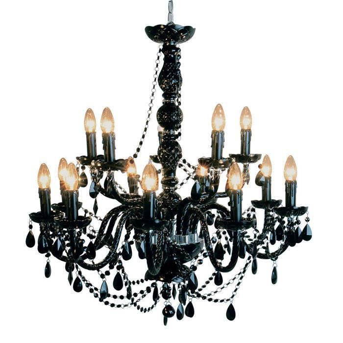 lustre 14 branches baroque noir achat vente lustre 14 branches baroque verre acrylique. Black Bedroom Furniture Sets. Home Design Ideas