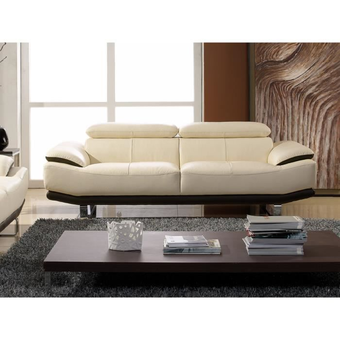 canap cuir 2 places beige marron sup rieur osmoz achat vente canap sofa divan cdiscount. Black Bedroom Furniture Sets. Home Design Ideas
