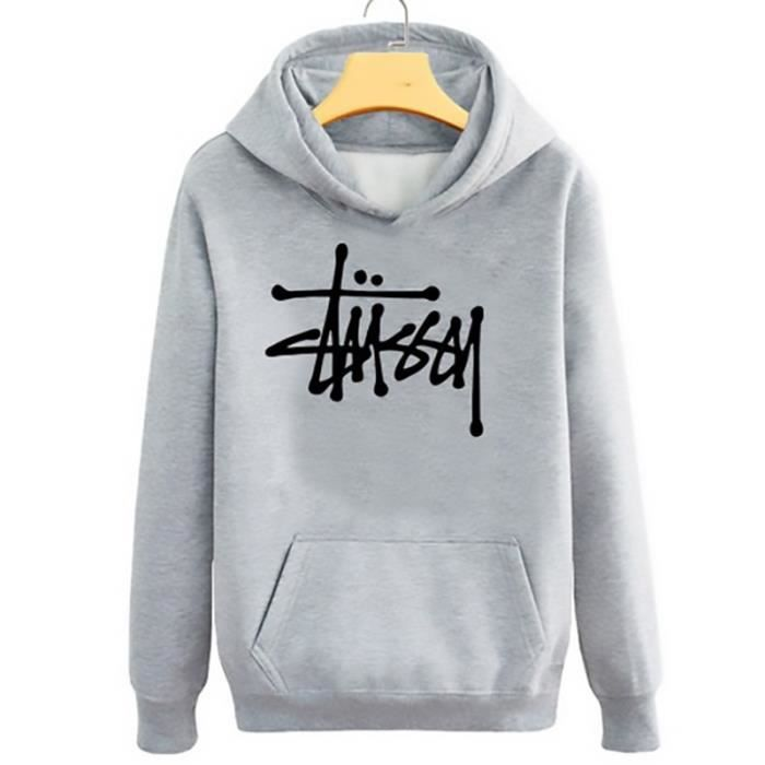 stussy sweatshirt pull over capuche oversize gris achat vente sweatshirt cdiscount. Black Bedroom Furniture Sets. Home Design Ideas