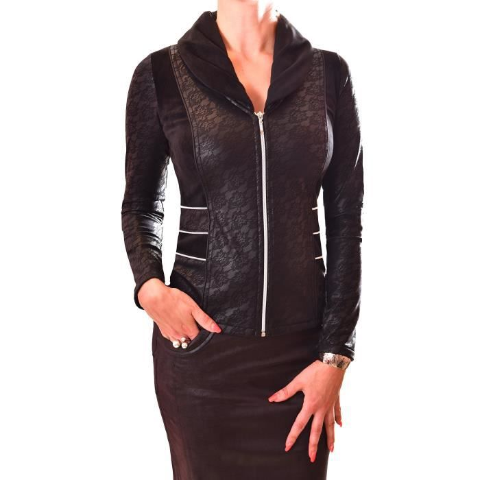 Veste Pour Aspect Blazer Manches Top Cuir Stretchy Femmes Up Zip Tq7Hq