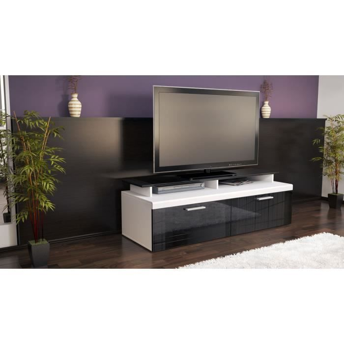 meuble tv bas blanc et noir laqu 140 cm achat vente meuble tv meuble tv bas blanc et noir. Black Bedroom Furniture Sets. Home Design Ideas