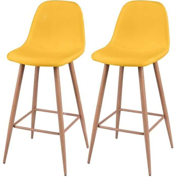 tabouret bar jaune achat vente tabouret bar jaune pas cher cdiscount. Black Bedroom Furniture Sets. Home Design Ideas