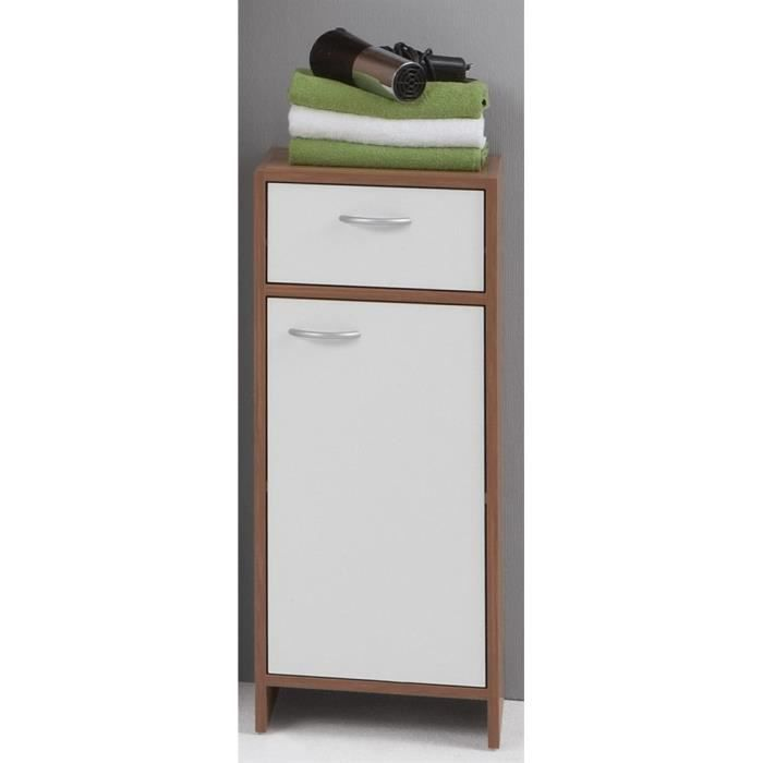 el ment de salle de bains 1 porte 1 tiroir madrid prunier blanc achat vente armoire de. Black Bedroom Furniture Sets. Home Design Ideas