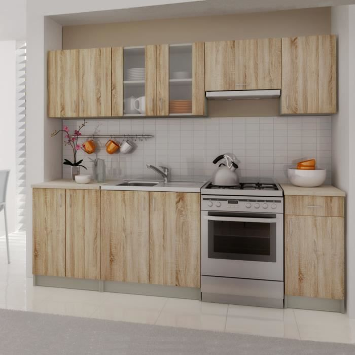 meubles de cuisine en kit 2 4 m gris achat vente cuisine compl te meubles de cuisine en kit. Black Bedroom Furniture Sets. Home Design Ideas