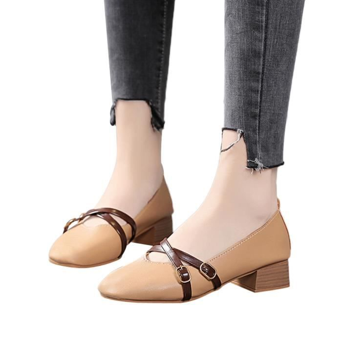 Mocassins Square Fashion Chaussures 7288 Carré Ladies Femmes Casual Bout Les Talon Simples Veberge qFSTnHw