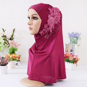 ECHARPE - FOULARD Hijab Double boucle Slip On Pull foulard sur Crêpe