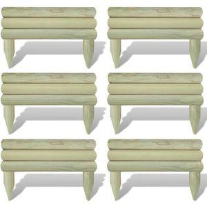 BORDURE Lot de 6 bordures de jardin - en bois-Pin imprégné