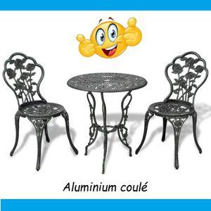FAUTEUIL JARDIN  Ensemble Table et chaises en Aluminium vert effet