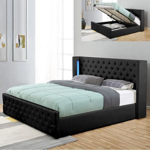 STRUCTURE DE LIT Lit coffre design avec led OSMOS - Noir - 160x200