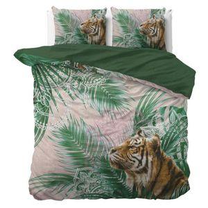 Tête de tigre et feuilles tropicales taies 220 x 240 cm Housse de couette