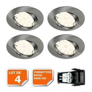 SPOTS - LIGNE DE SPOTS LOT DE 4 SPOT LED ENCASTRABLE ORIENTABLE ALU BROSS