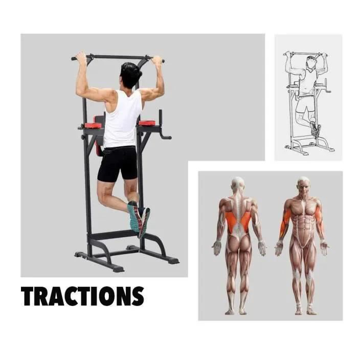 Appareil de musculation pour tractions et dips, multifonction, Barre de traction hauteur réglable, stable et durable