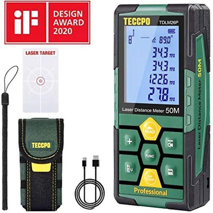 Télémètre laser 50m TECCPO, USB 30mins Charge rapide, Décoration intérieure, Capteur d'angle électronique, 99 stockage, 2.25'' LCD É
