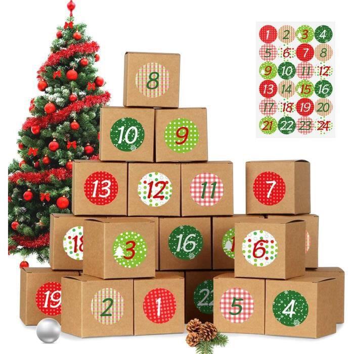 Calendriers de l'Avent, DIY Boîtes pour Calendrier de l'Avent à Remplir, 24 Papier Kraft Set de Boîtes Calendrier, Calendriers de No