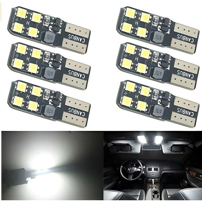 6x Ampoule T10 W5W LED 8 SMD 6000k pour Voiture veilleuses Canbus Lumière 12V