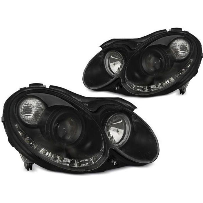 Paire de feux phares Mercedes CLK W209 03-10 Daylight led noir (EA6)