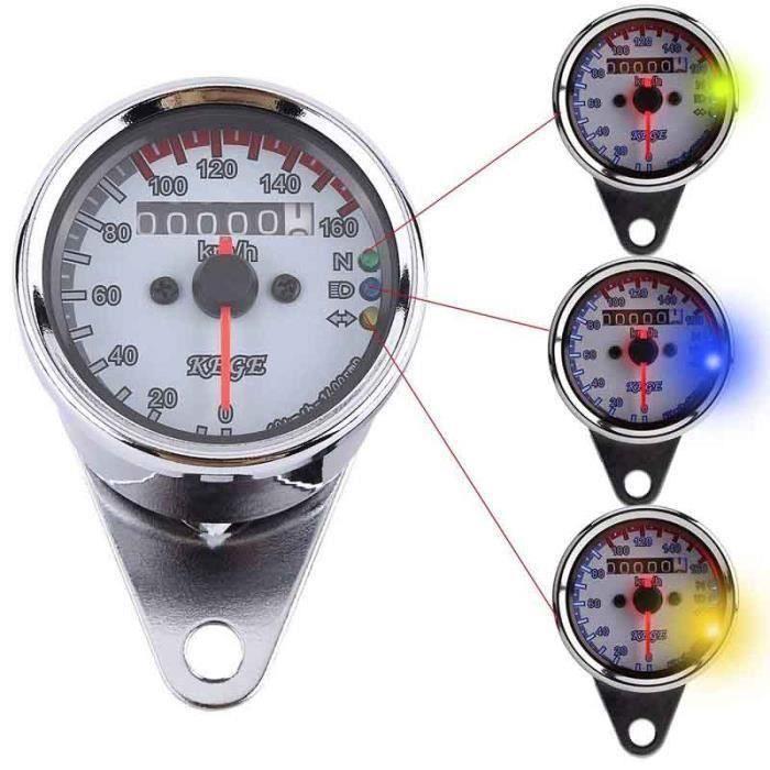 Odomètre Compte-tours Vintage Indicateur de Vitesse Double Indications Rétro-éclairage LED - ( Couleur Argent ) A60823