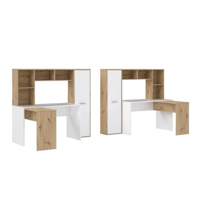 Bureau d'angle gauche/droite 1 porte - Décor Blanc mat et chêne artisan - L 173 x P 116 x H 152 cm - ERIADU