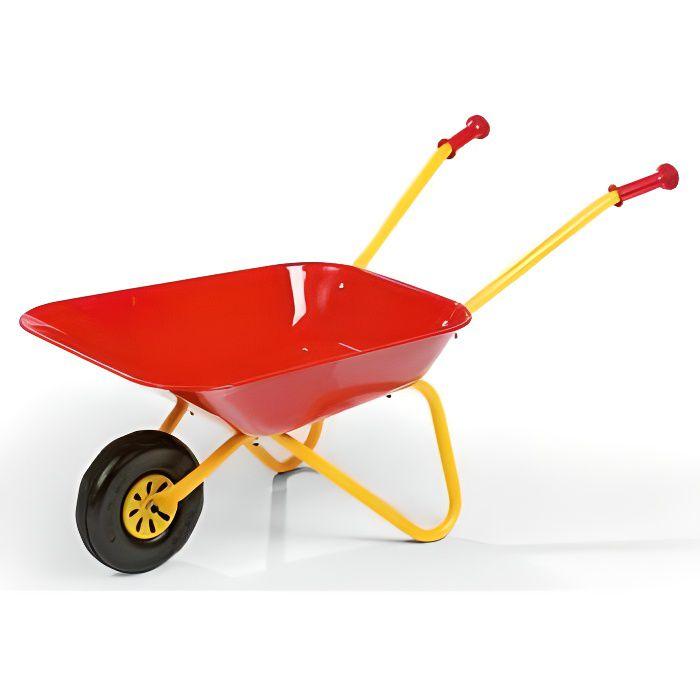 Brouette metal enfant Petit Jardinier 80x38x41cm, Benne 25 Kg max, Rouge - Jeu de plein air – Outillage de jardin - Des 2,5 ans