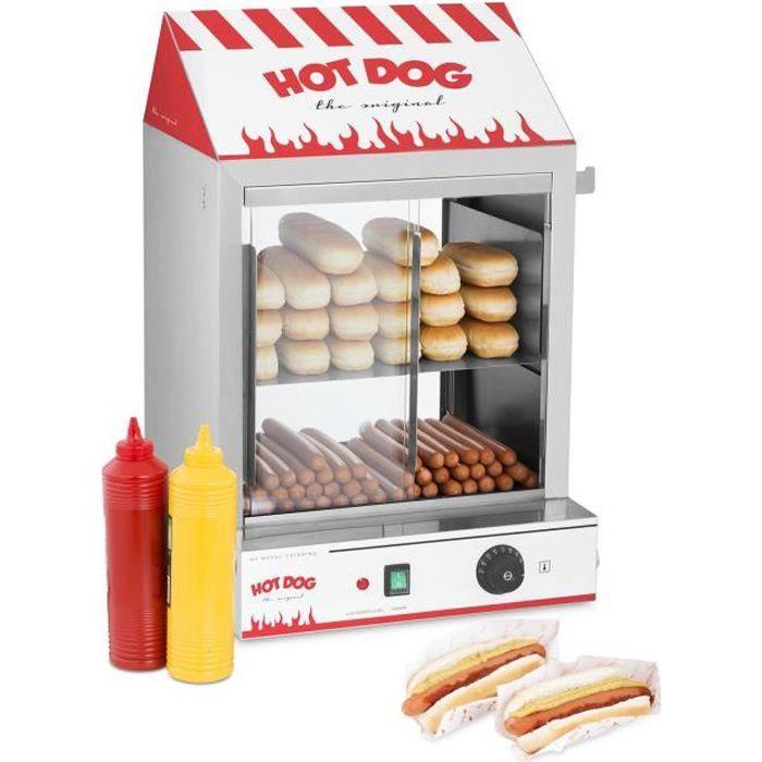 Cuiseur à vapeur hot-dogs Royal Catering RCHW 2000 (200 saucisses 50 petits pains 2000W 30-110 dc vanne d'évacuation)