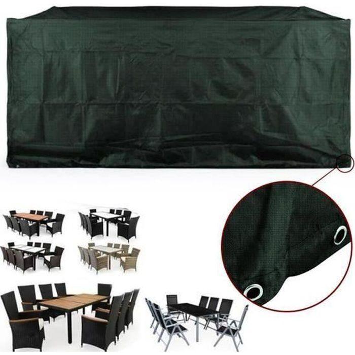 HOUSSE DE PROTECTION POUR SALON DE JARDIN TABLE VERT 308*138*89CM