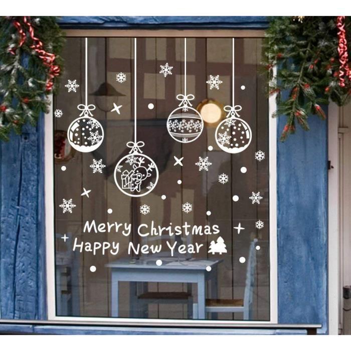 DIY Noël fenêtre décorations flocons de neige Stickers Muraux cerf joyeux  Noël pour la maison, magasins, verre (6 feuilles) 30*45CM